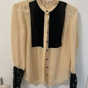 Rachel Roy blouse with lace sleeves